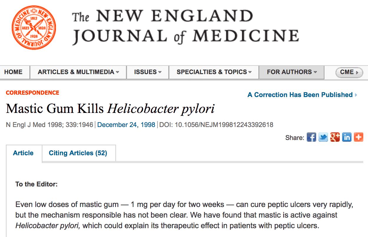 Mastic gum kills H.pylori
